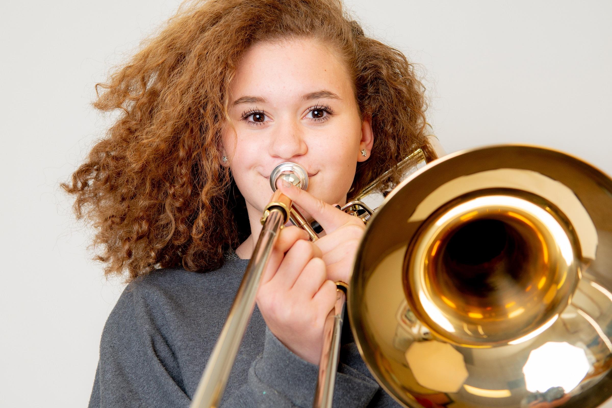 Student Playing Trombone