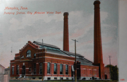 postcard mailed 1910 Memphis, Tenn. Pumping Station. City Artesian Water Dept