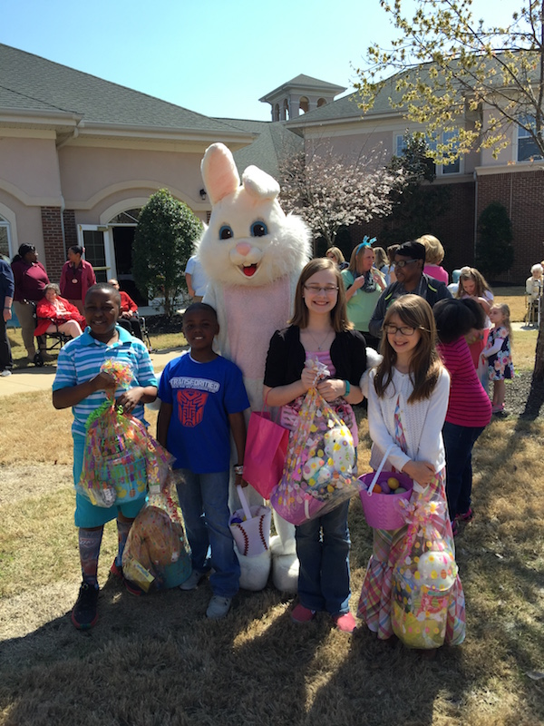 young kids with Easter bunny at Village at Germantown