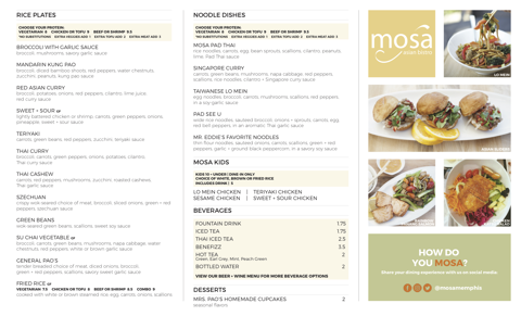 Mosa Asian Bistro Dine In Menu Page Two