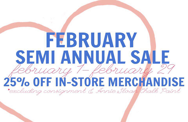 In February, get 25% off everything during Blu D'or Interiors Semi Annual Sale!!