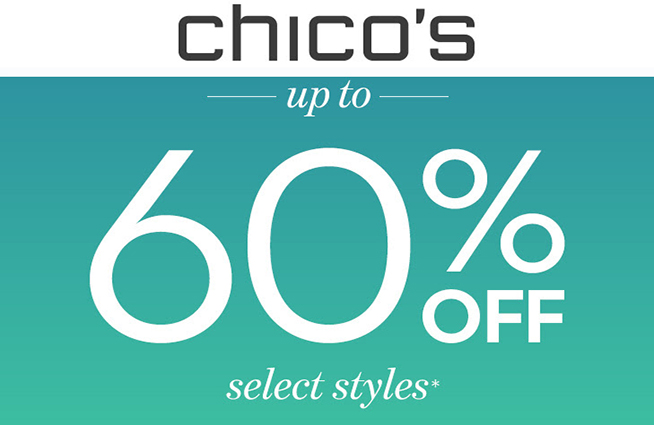 Save up to 60% off select styles at Chico's through Memorial Day!