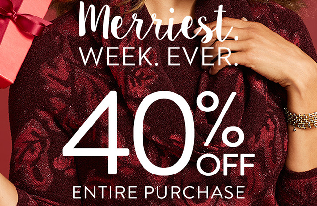 Enjoy 40% off ENTIRE PURCHASE at Chico's thru 11/26!!