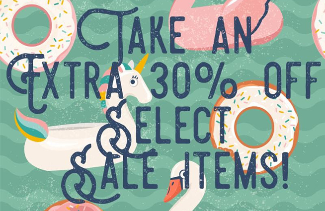 Save an extra 30% off sale items at Cotton Tails and Sachi this week!