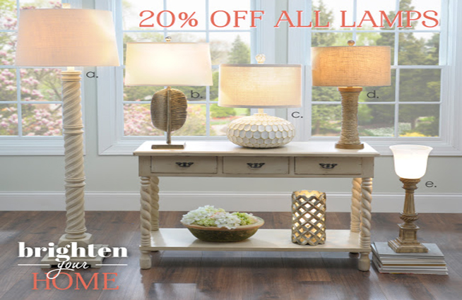 Get 20% off all lamps at Kirkland's through February 21st!