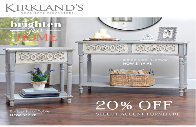 Save 20% on select accent furniture through Feb 21st at Kirkland's!
