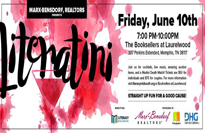 Join us for Literatini Friday, June 10th at The Booksellers! It's a wonderful event that benefits Literacy Mid-South that includes live music, auction items, cocktails and a Martini Death Match!