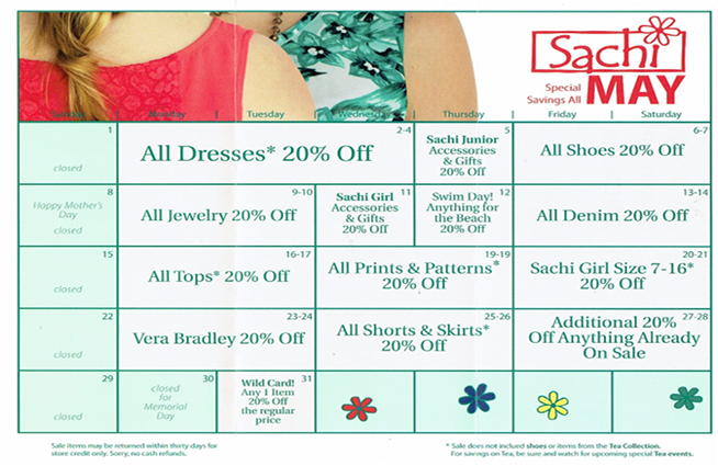 Save big every day in May at Sachi!!