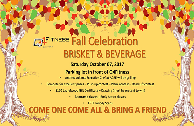 Join us at Q4Fitness October 7th from 10-2 for a Fall Celebration!!