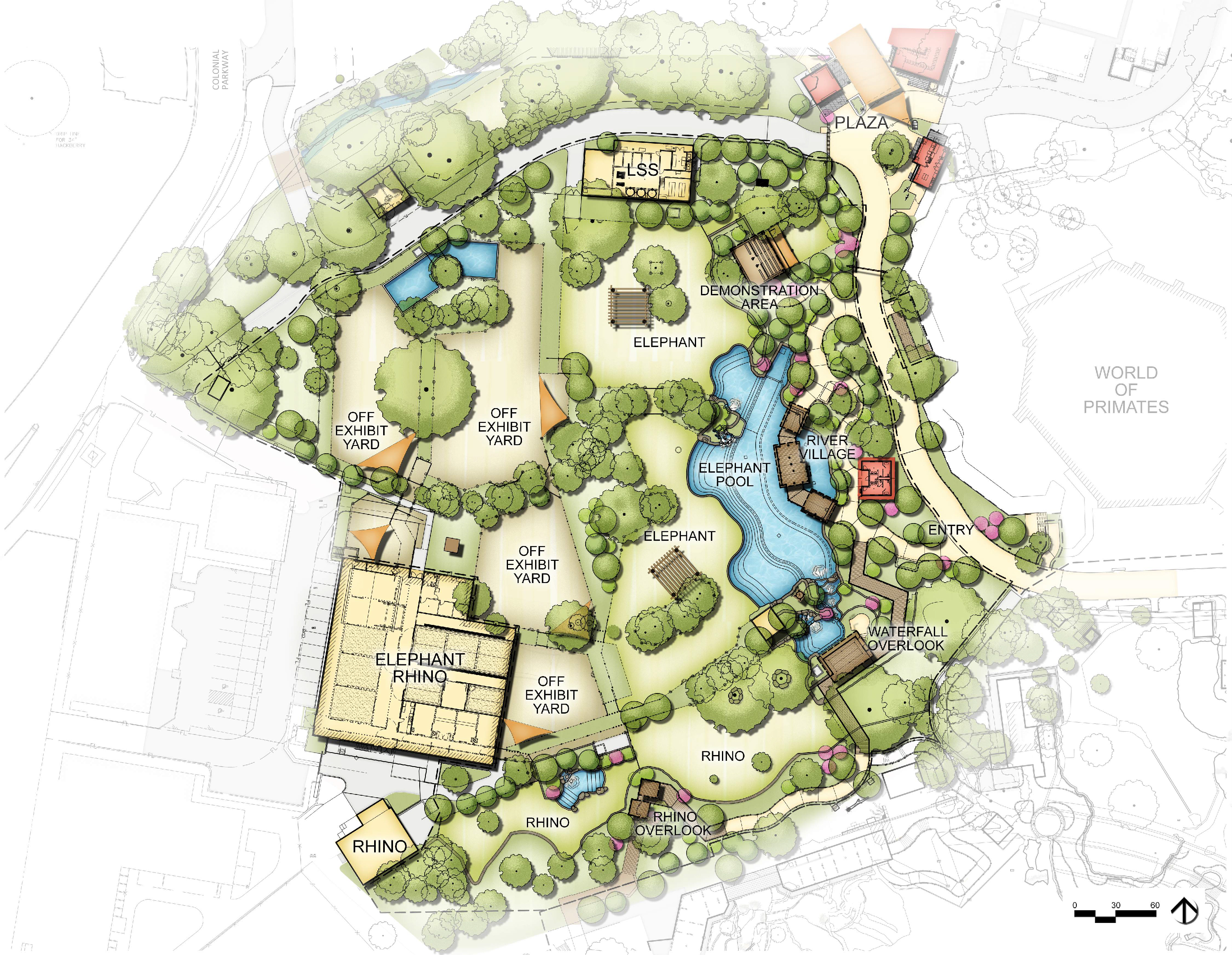 A Wilder Vision concept map for Elephant Springs | Fort Worth Zoo
