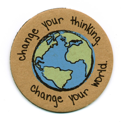 change your thinking recycled magnet