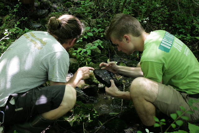 Two campers studying a stream