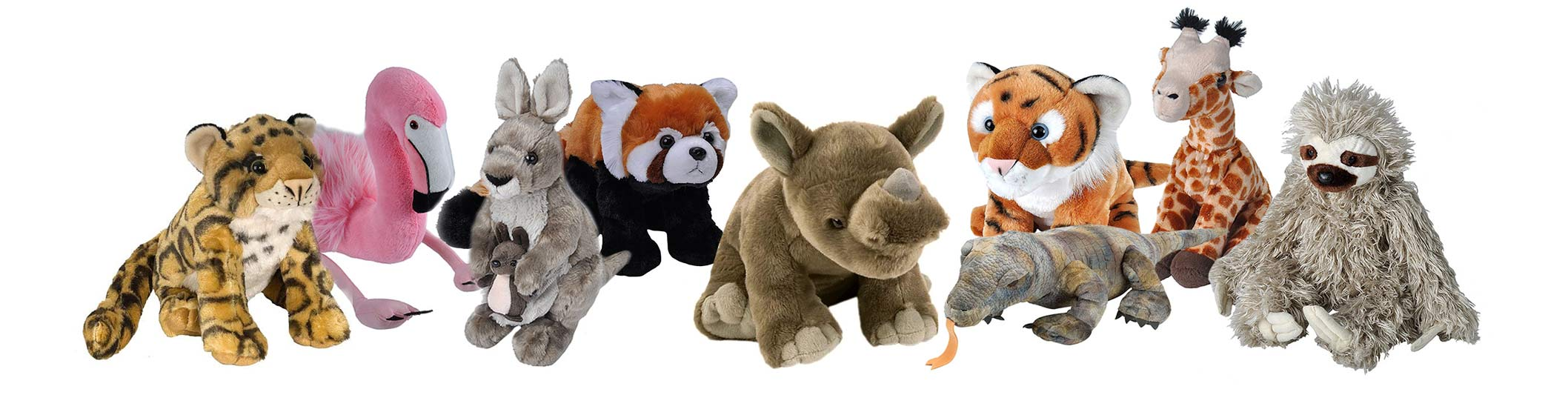plush animals in a line