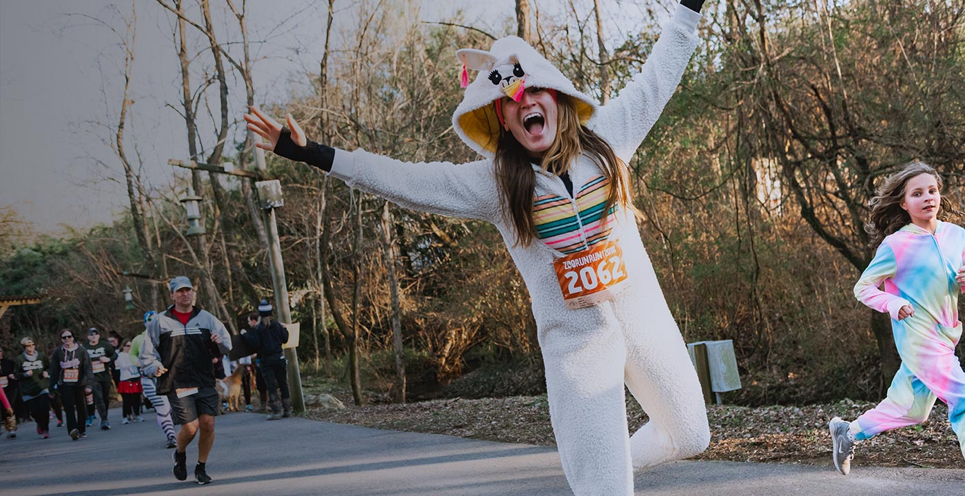 Woman running while wearing an alpaca costume