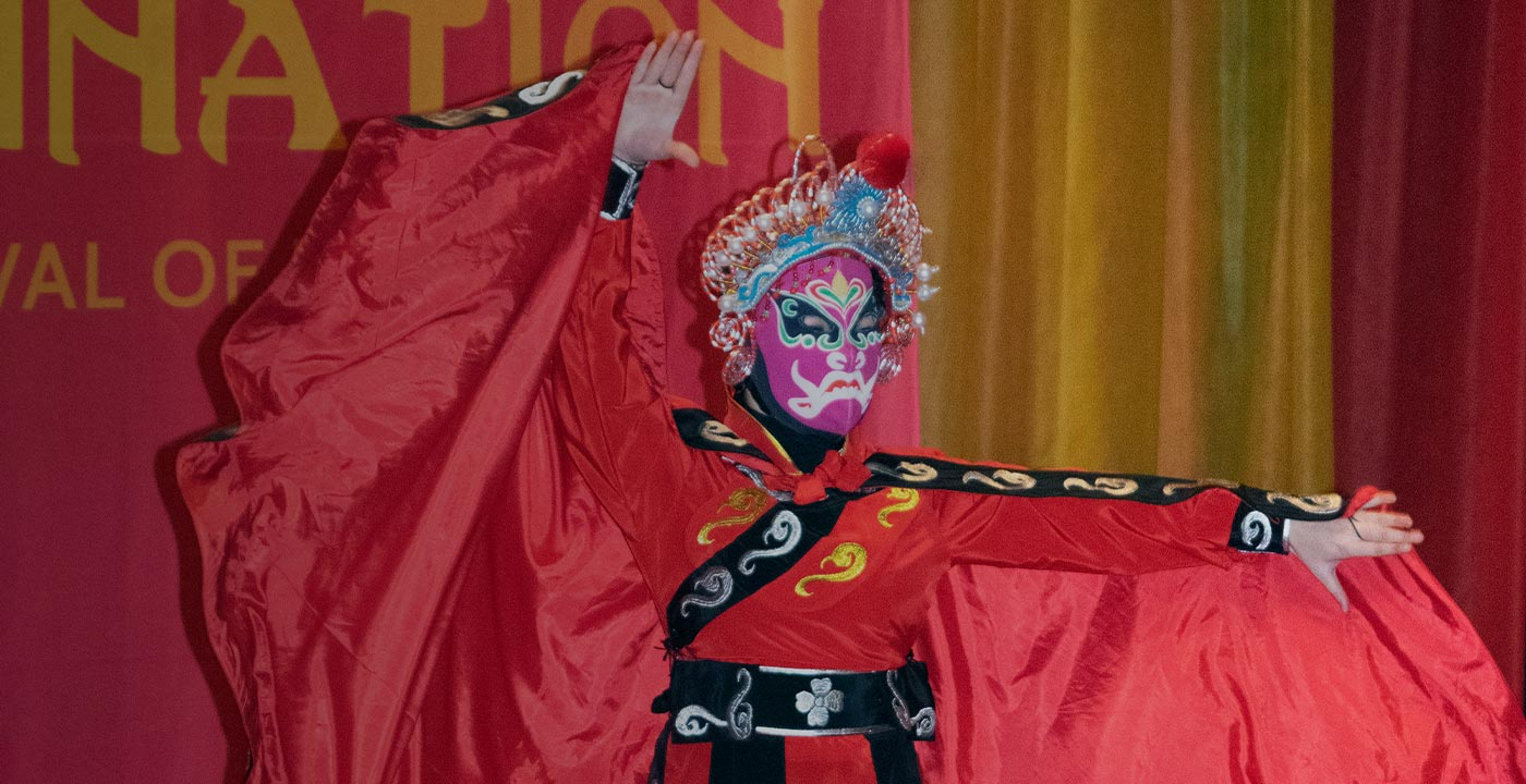 Chinese performer wearing mask