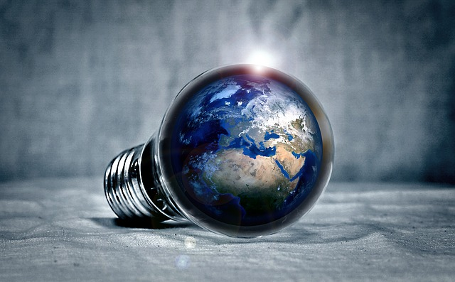 Lightbulb with Image of the Earth to Indicate Energy Efficiency