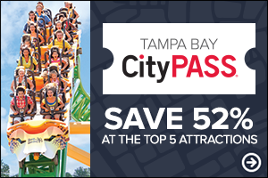 tampa bay city pass graphic with a rollercoaster full of guests