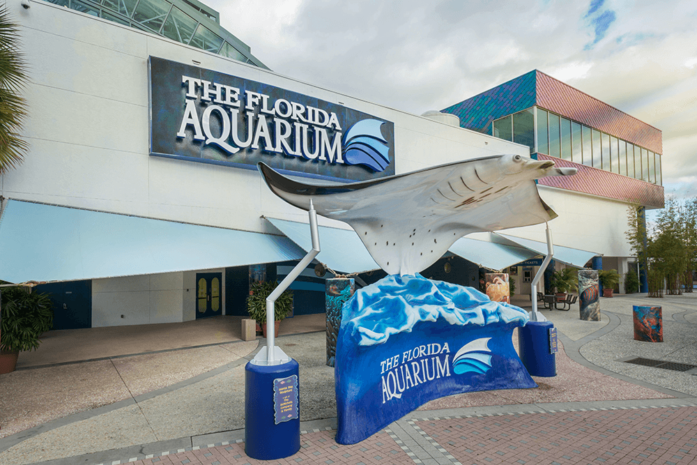 The Florida Aquarium building front exterior with a large manta ray statue riding waves