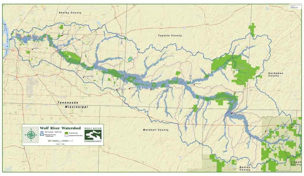 Wolf River Protected Lands - Tn river map