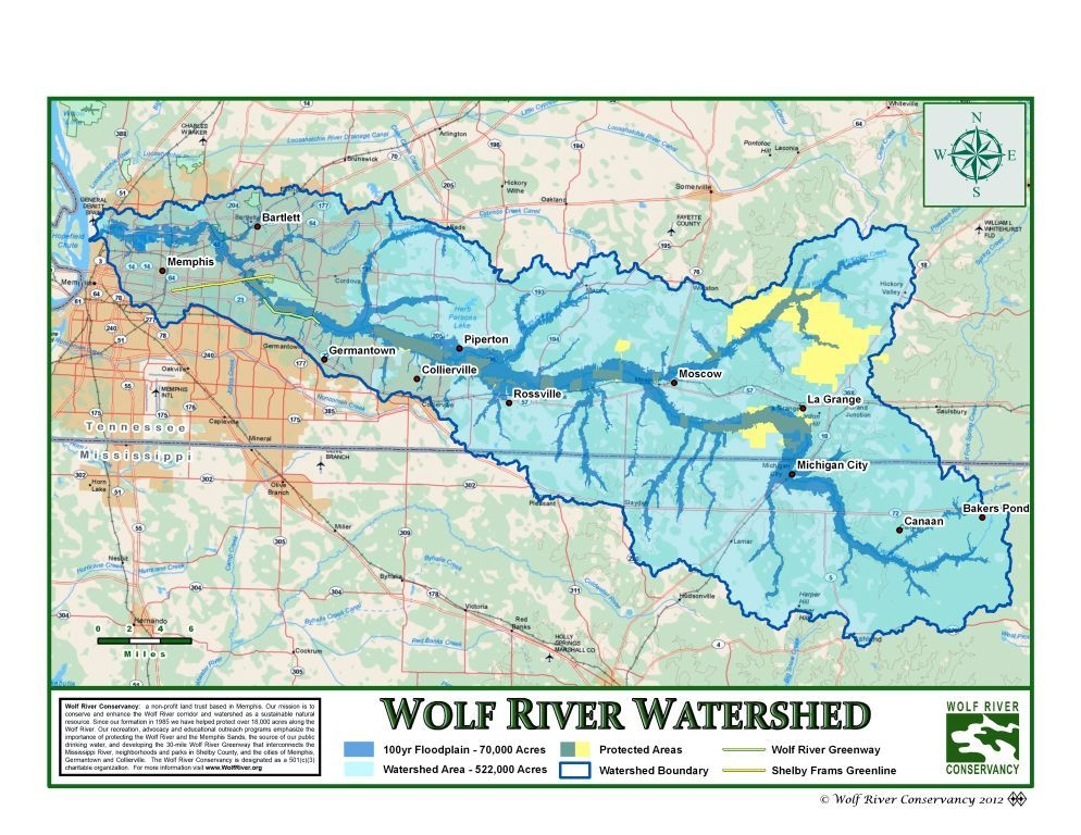 wolf river mississippi map Wolf River Watershed wolf river mississippi map