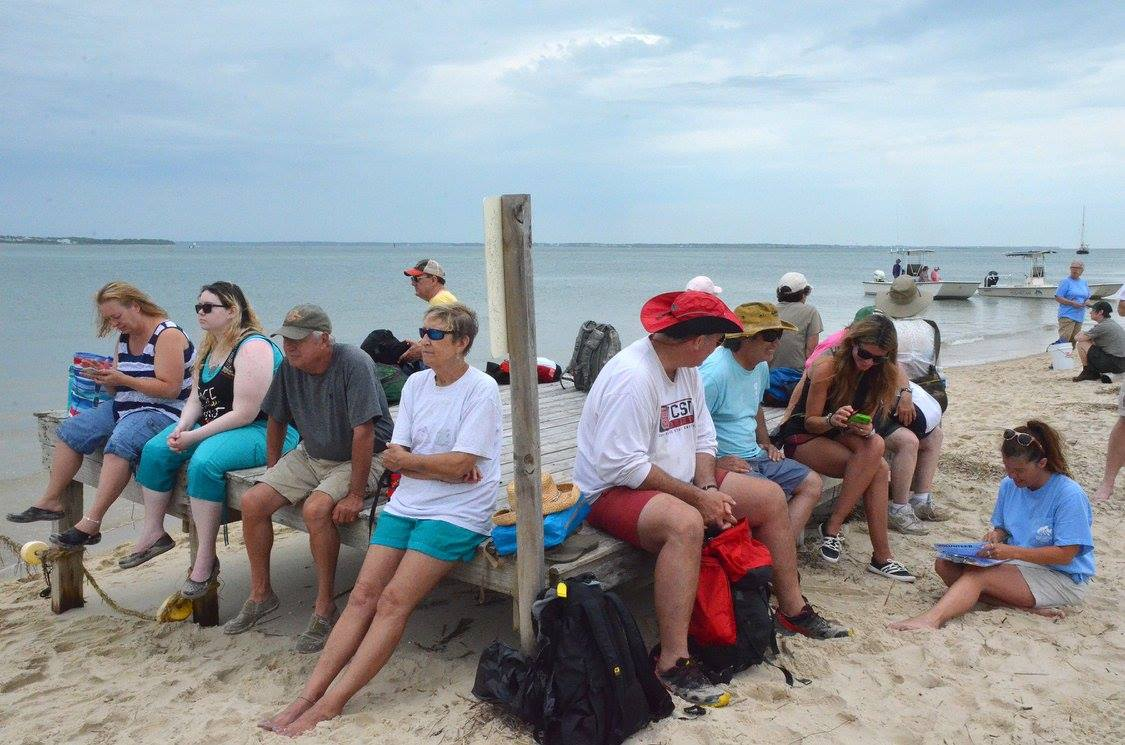 Cape Lookout National Seashore Parks Service and the Aquarium join together to pick up trash from Shackleford Banks.