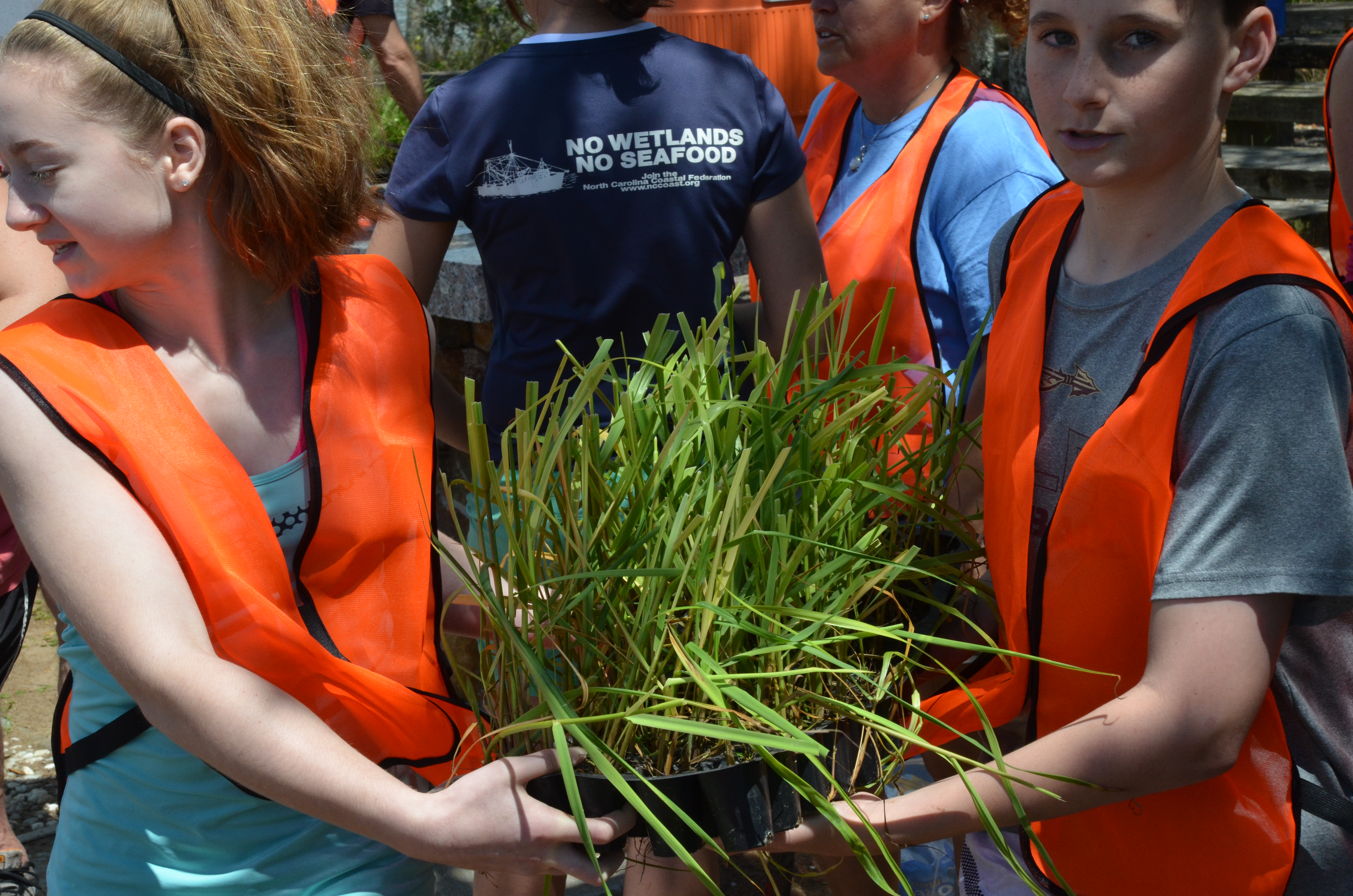 The Aquarium and Community Leaders gather together to plant marsh grass at the Trinity Center.
