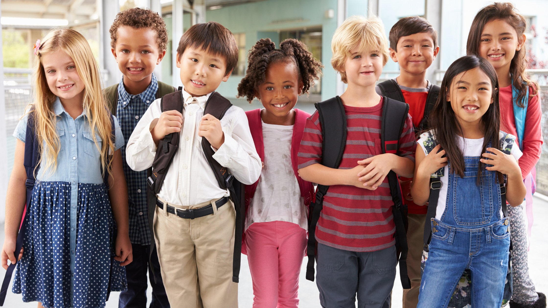 diverse children standing together