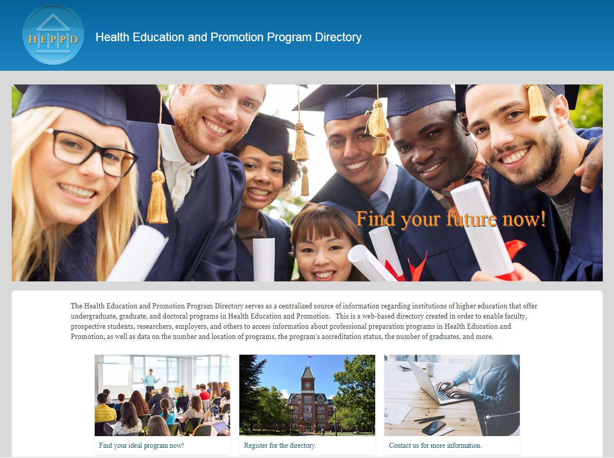 Health Education and Promotion Program Directory Screenshot
