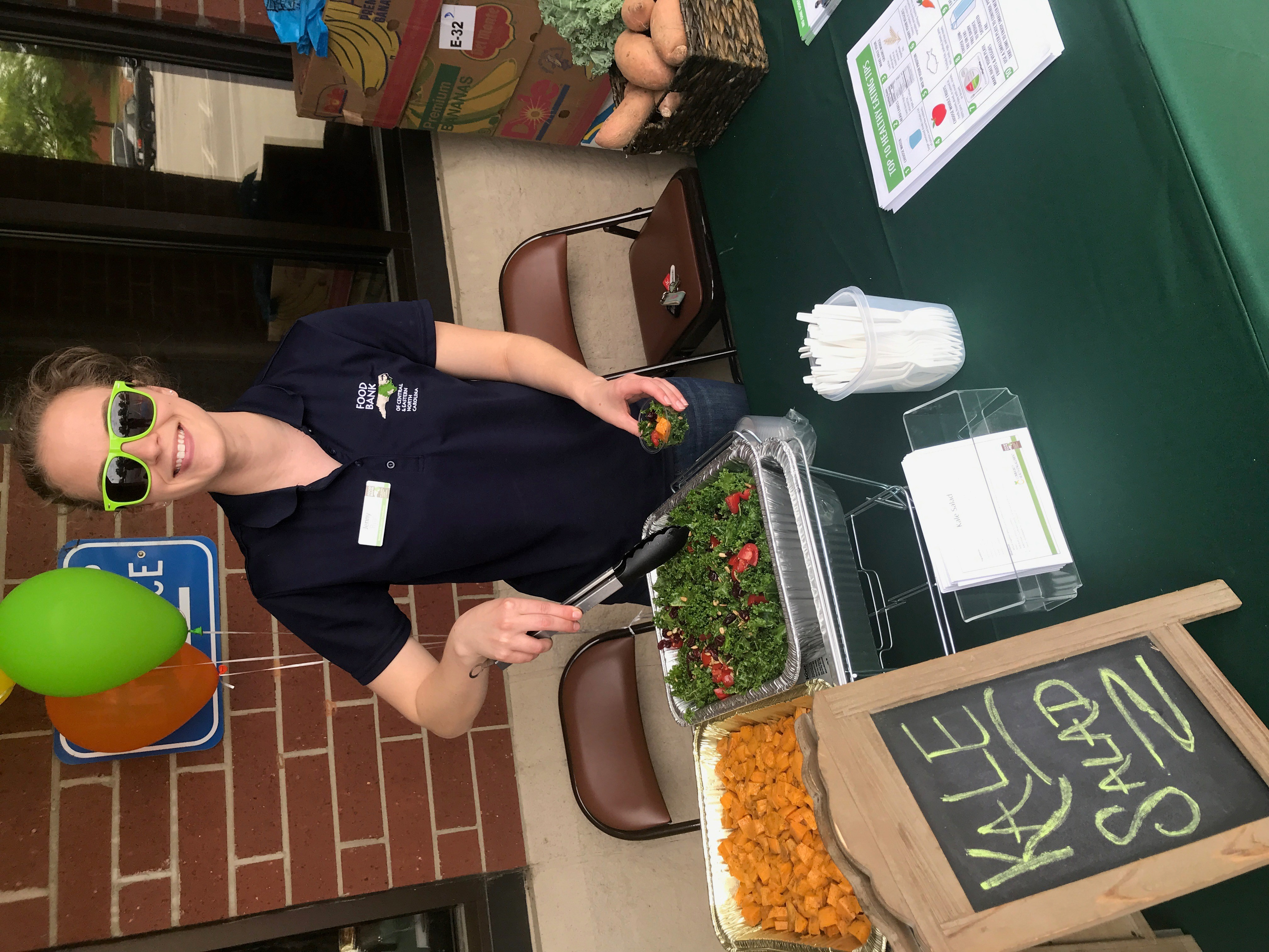 woman serving healthy meals