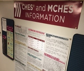 NCHEC Ambassador Dr. Mindy Menn, University of Central Arkansas, displays CHES® and MCHES® information in her hallway.