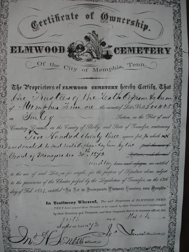 Elmwood Cemetery Certificate of Ownership