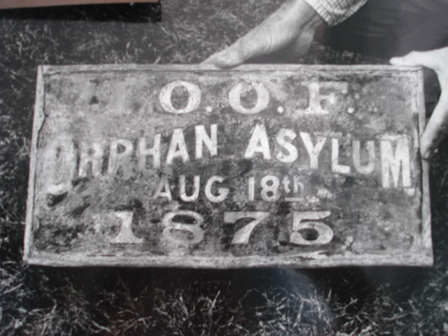 Cornerstone of orphanage. Order of the Odd Fellows Orphan Asylum