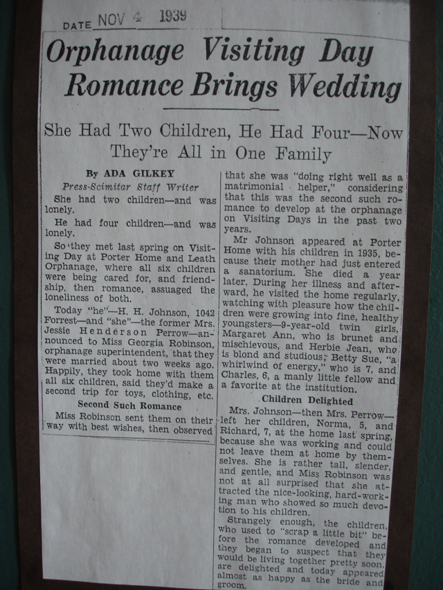 1939 Announcement of Orphanage wedding