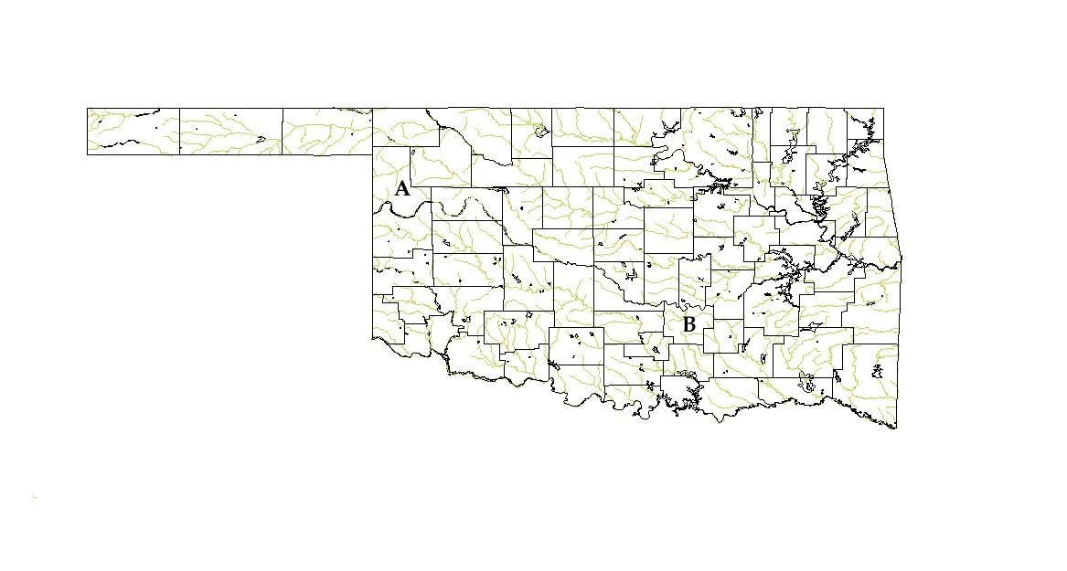 Map of Oklahoma Bee Survey Locations