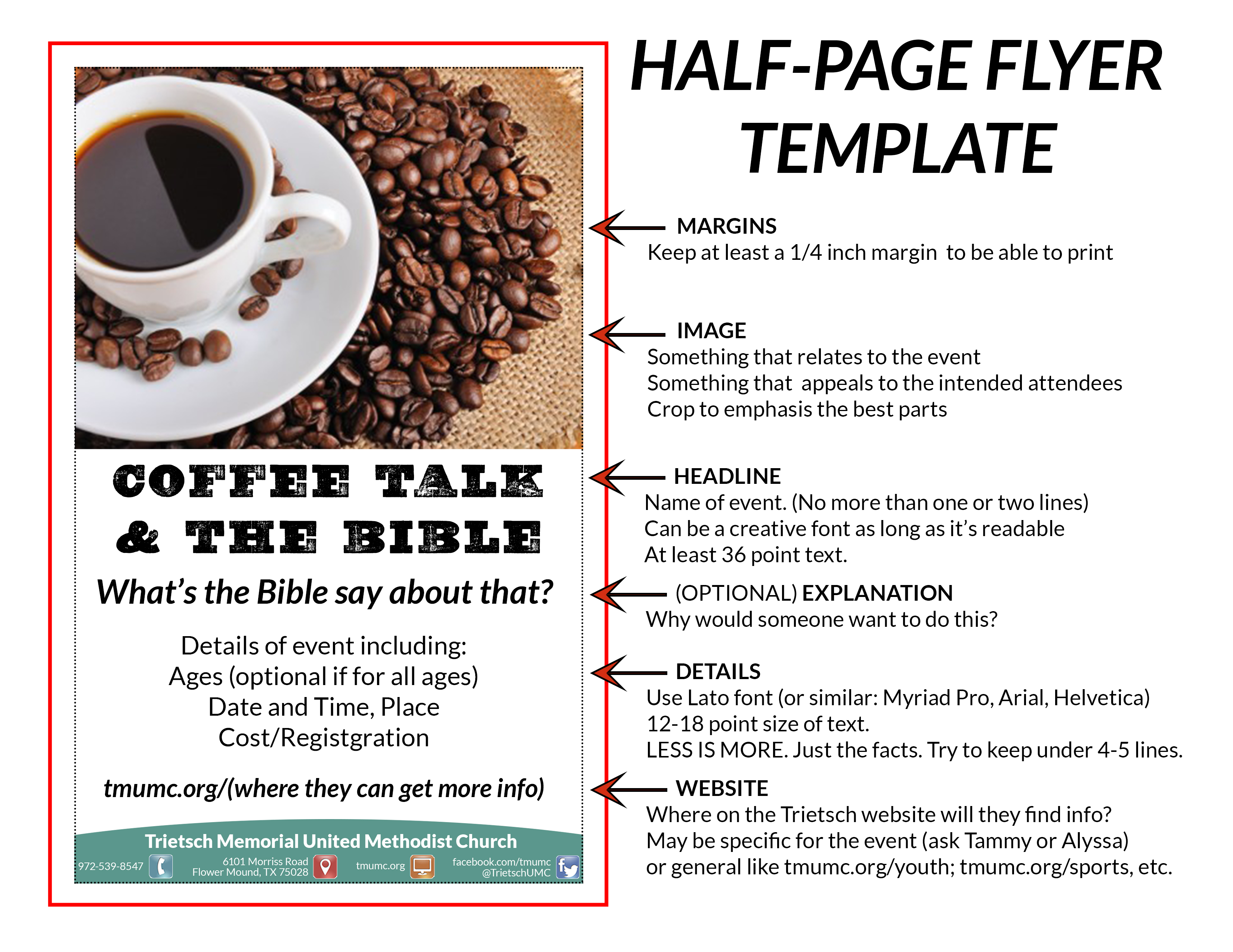how to make a half page flyer in word