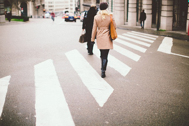 Pedestrians Using Crosswalk