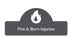 fire and burn injuries button