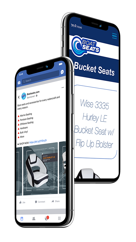 Boat Seats: Facebook ad and website
