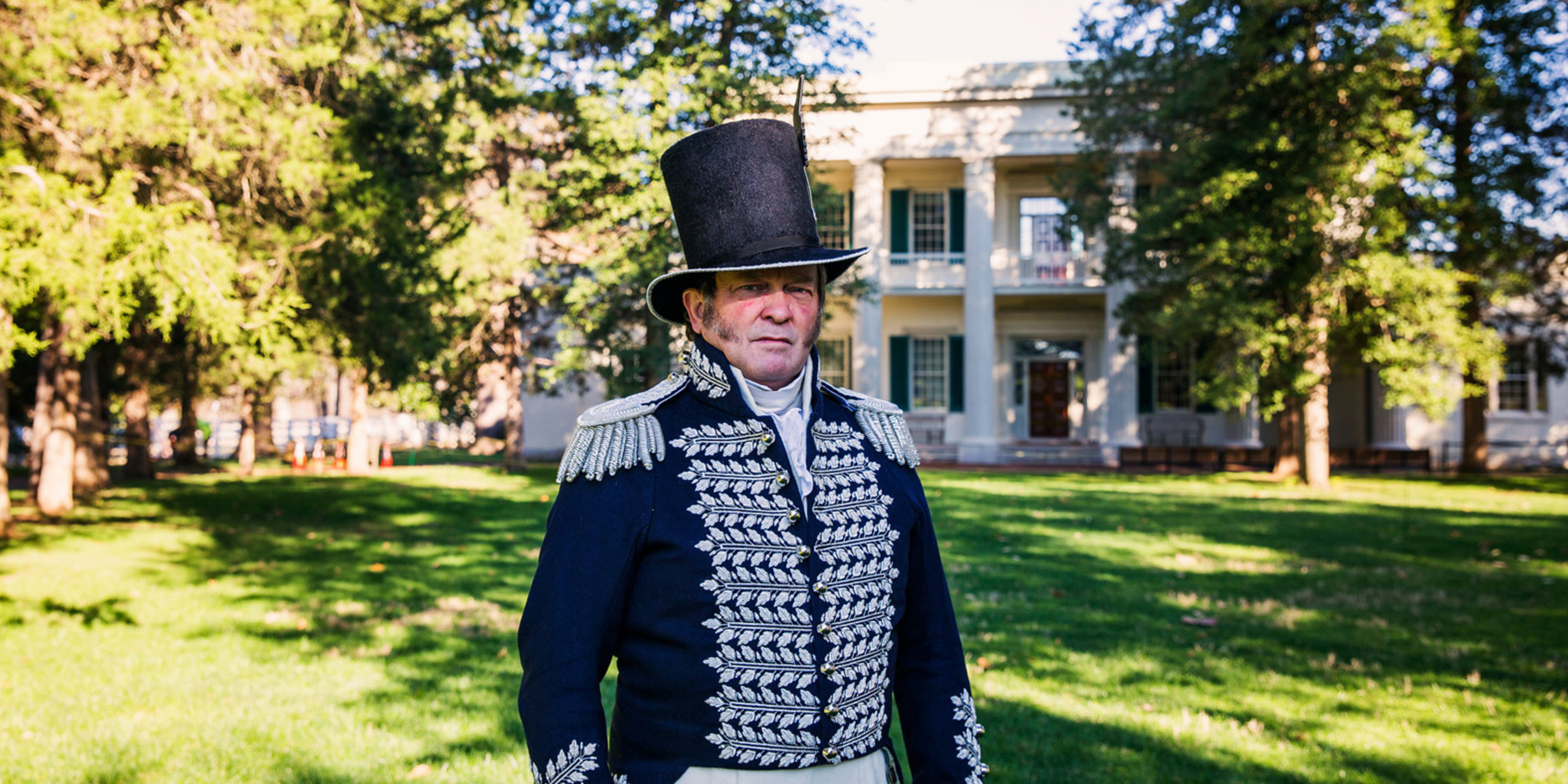 Andrew Jackson's Hermitage outside of main house with actor