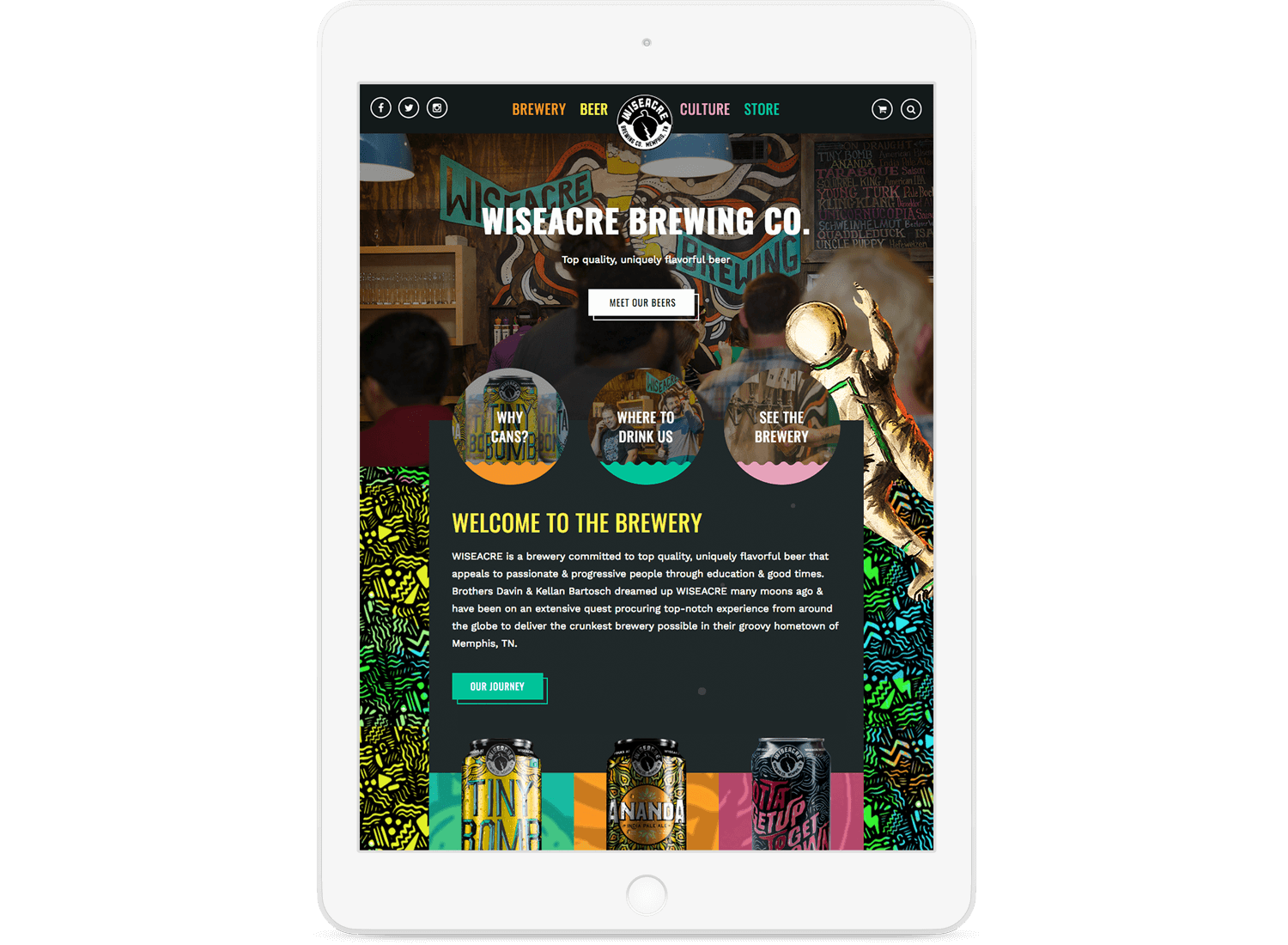 Wiseacre Website on Tablet