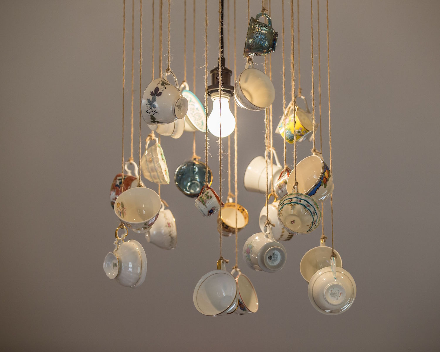 chandelier made from tea cups