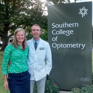 Andrea and I after the White Coat Ceremony last Fall. See how supportive she is wearing her glasses shirt? :)
