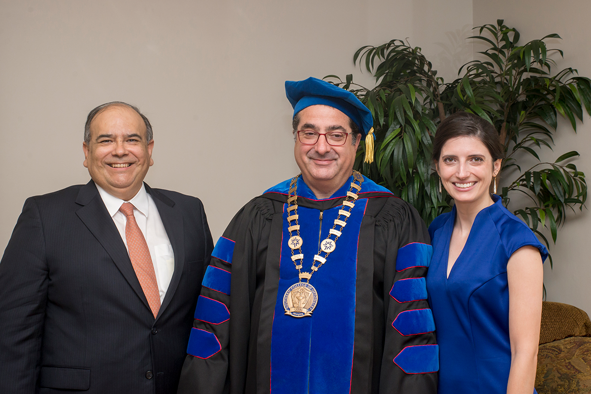 2017 Lifetime Achievement Award recipient Fred Farias III, OD '87, and 2017 Young Alumni Award recipient Jennifer Lyerly, OD '11, pictured with SCO President Dr. Lewis Reich
