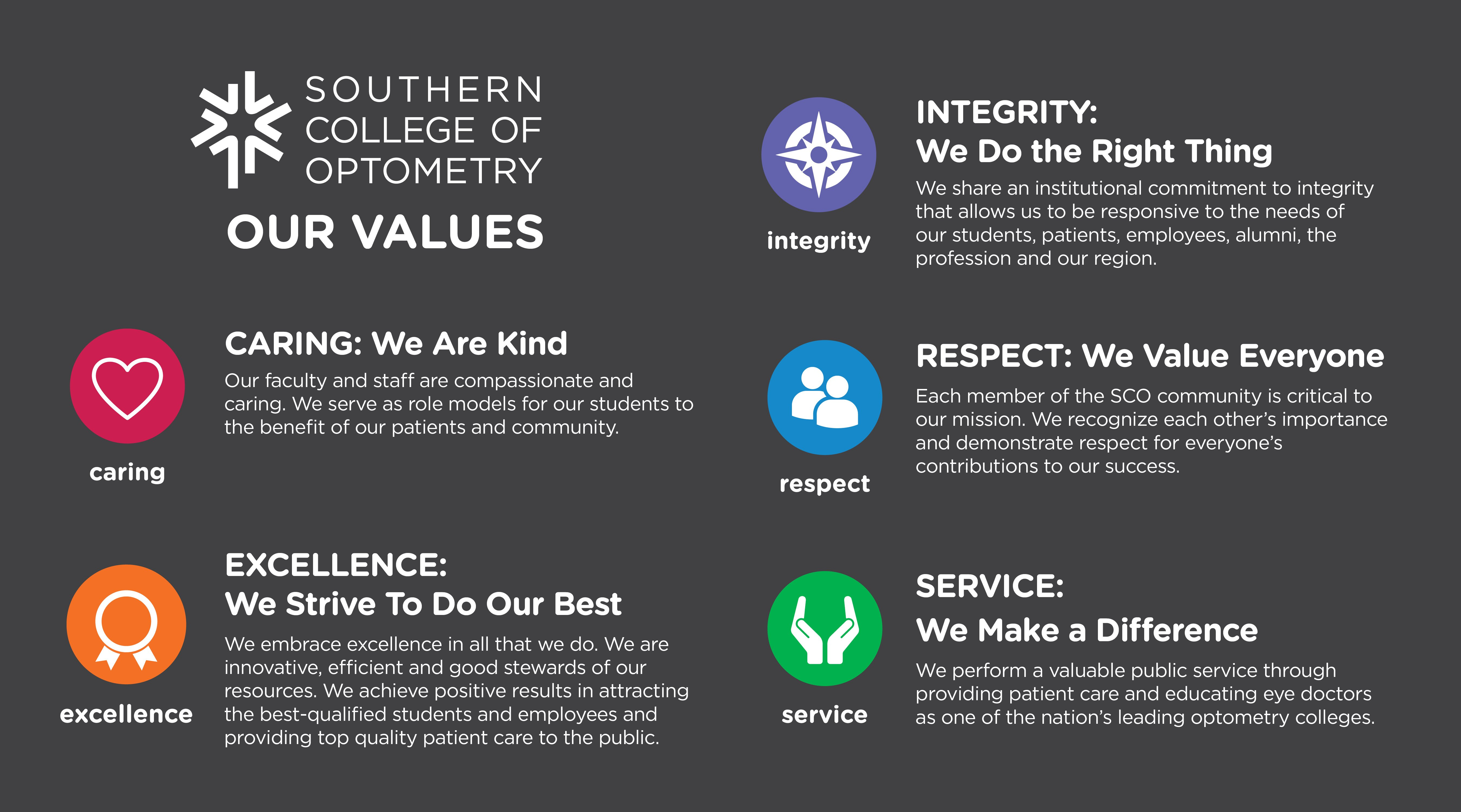 Southern College of Optometry Values