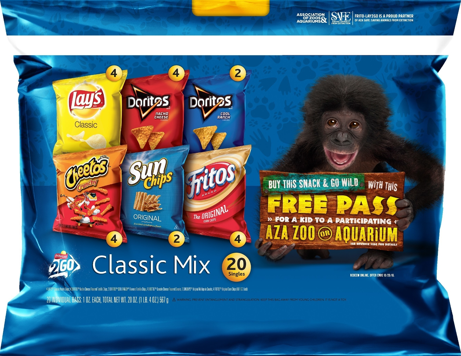 Image of Frito-Lay Classic Mix Variety Pack with SAFE logo and free pass to AZA facility logo