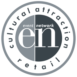 "Logo image of Event Network depicting letters ""e"" and ""n"" within a circle with text reading ""cultural attraction retail"" around the outside."