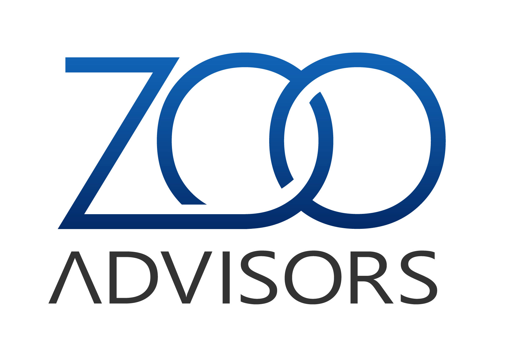 Logo Image of Zoo Advisors. The word Zoo is in blue font. The Z loops into the O. The second O is chained to the first O. The word advisors is underneath and is gray font.