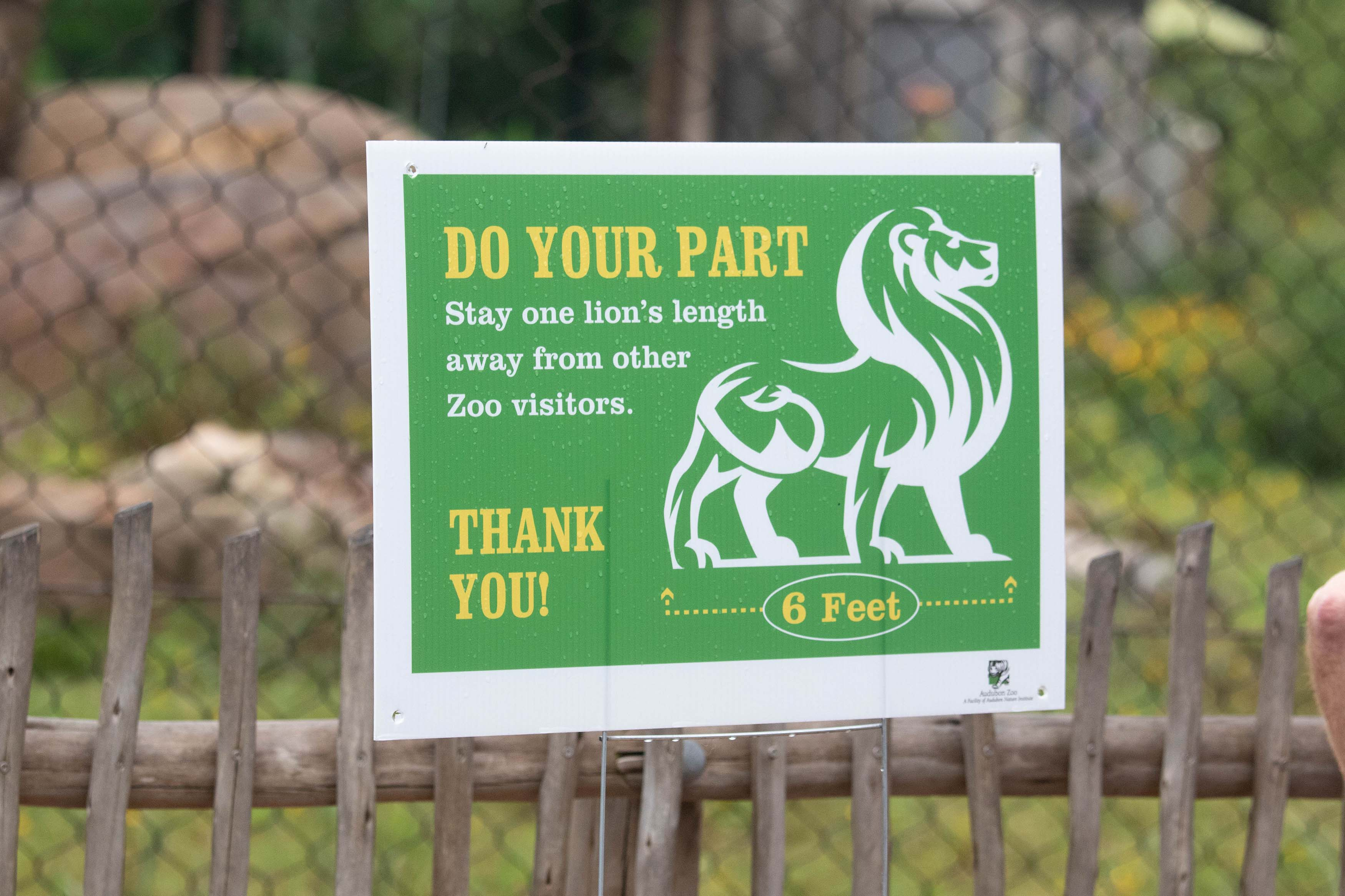 """Sign at Audubon Zoo """"Do Your Part - Stay One Lion's Length Away From Other Zoo Visitors'"""