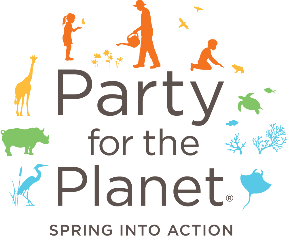 Party for the Planet logo depicting children playing with animal silhouettes around.