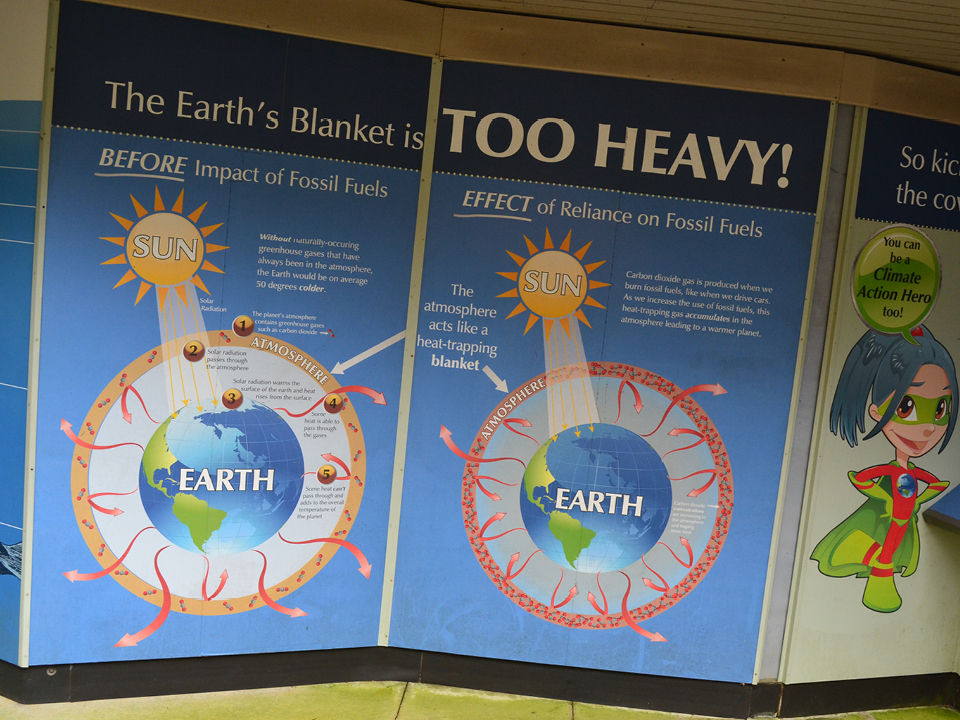 Photo of a poster in an exhibit titled 'The Earth's Blanket is Too Heavy!'
